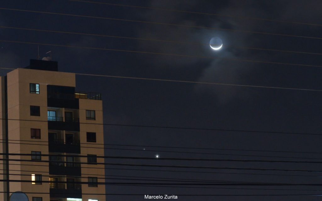 Lua Venus Marte MarceloZurita JoaoPessoa PB 1024x639 1 - Fenômeno especial: conjunção entre Marte, Vênus e a Lua foi vista na Paraíba- VEJA IMAGEM
