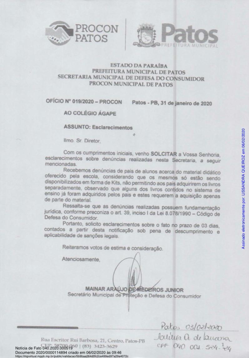 WhatsApp Image 2021 07 05 at 15.16.26 2 - Instituto Ágape, processa Paraíba Já por suposta Fake News, portal diz ter compromisso com a verdade, colecionando grandes investigações