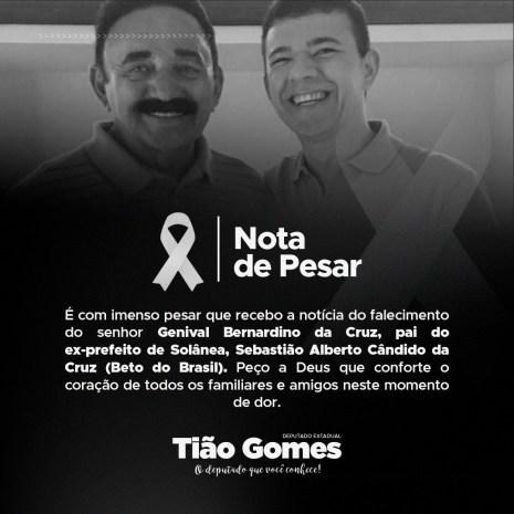 WhatsApp Image 2021 07 07 at 12.19.54 - Tião Gomes emite nota de pesar pelo falecimento do pai do ex-prefeito de Solânea Beto do Brasil
