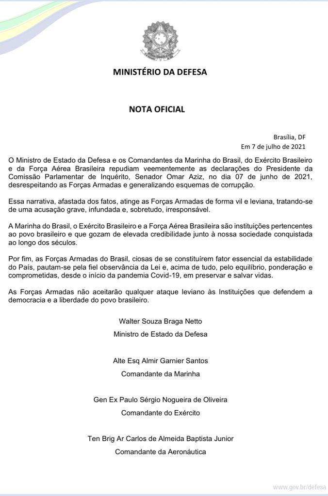 WhatsApp Image 2021 07 07 at 21.04.29 - Forças Armadas não aceitarão qualquer ataque leviano, diz nota em resposta a falas de Aziz na CPI da Covid