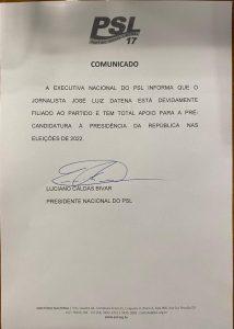 """WhatsApp Image 2021 07 08 at 09.43.48 214x300 - PSL confirma filiação e dá """"total apoio"""" a Datena para pré-candidatura à Presidência; Veja a nota"""