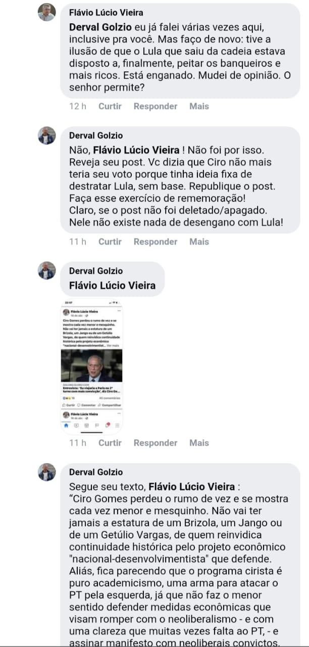 WhatsApp Image 2021 07 08 at 10.11.52 1 - GUERRA NA ESQUERDA RICARDISTA: Derval Golzio questiona Flávio Lúcio após migrar para o PDT e criticar Lula, que rebate: 'VOCÊ É UM CANALHA'