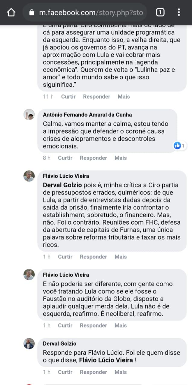 WhatsApp Image 2021 07 08 at 10.11.52 2 - GUERRA NA ESQUERDA RICARDISTA: Derval Golzio questiona Flávio Lúcio após migrar para o PDT e criticar Lula, que rebate: 'VOCÊ É UM CANALHA'