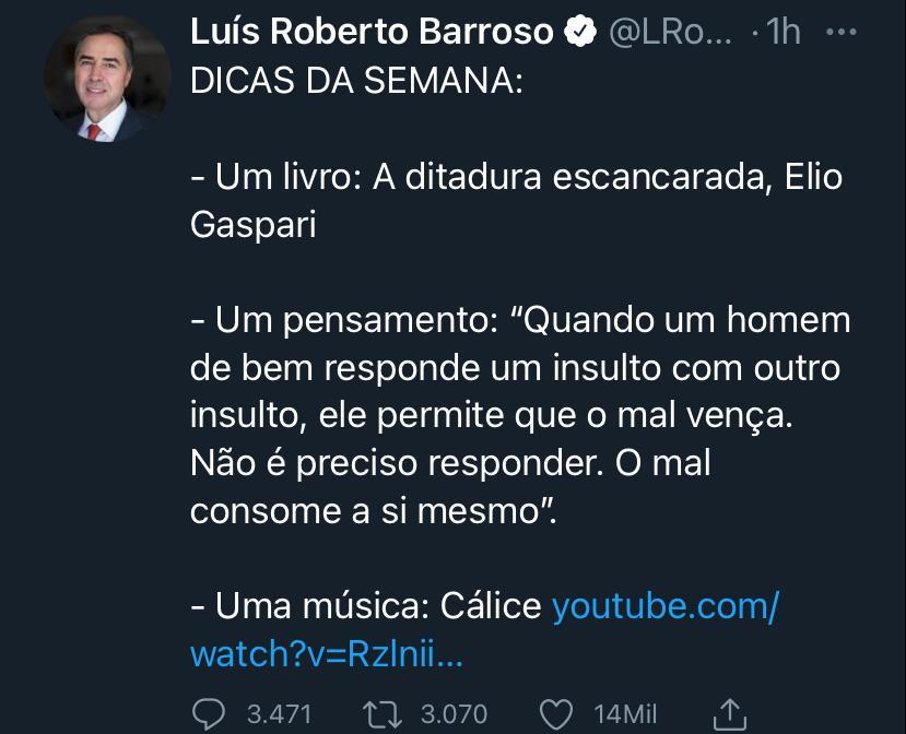 WhatsApp Image 2021 07 09 at 20.29.59 - INDIRETA? Barroso cita livro sobre ditadura e 'Cálice' após Bolsonaro ameaçar eleição