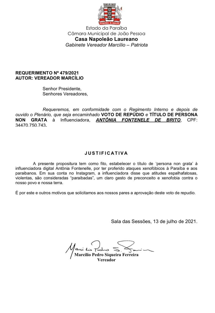 """WhatsApp Image 2021 07 13 at 13.19.49 - Vereador Marcilio do HBE apresenta requerimento para que Antônia Fontenelle seja considerada """"persona non grata"""" em João Pessoa"""