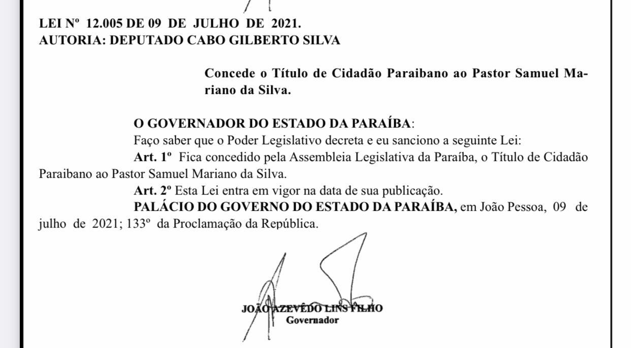 WhatsApp Image 2021 07 14 at 08.58.31 - Após escândalos sexuais, pastor Samuel Mariano recebe título de cidadão paraibano
