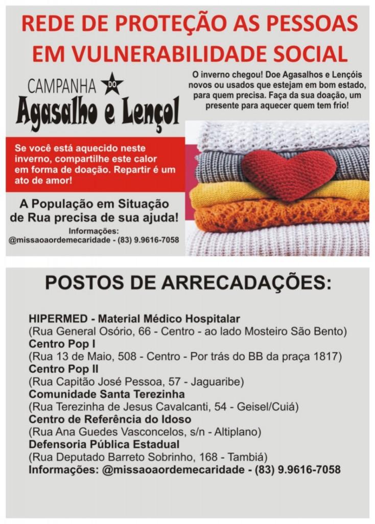 WhatsApp Image 2021 07 15 at 16.10.23 2 - SOLIDARIEDADE: campanha arrecada agasalhos para população em situação de rua em João Pessoa