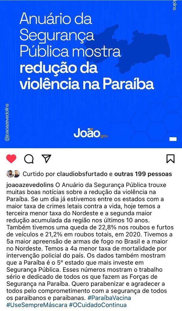 WhatsApp Image 2021 07 15 at 19.37.28 - Paraíba tem o 3º menor índice de assassinatos do NE e o 4º menor índice de roubos no Brasil, segundo Anuário Brasileiro de Segurança Pública