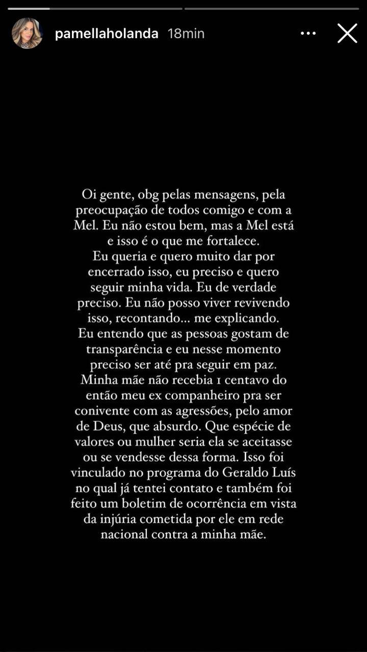 WhatsApp Image 2021 07 17 at 13.52.10 - 'Tive coragem de dar um ponto final em uma vida de aparência', diz Pamella Holanda - LEIA A NOTA