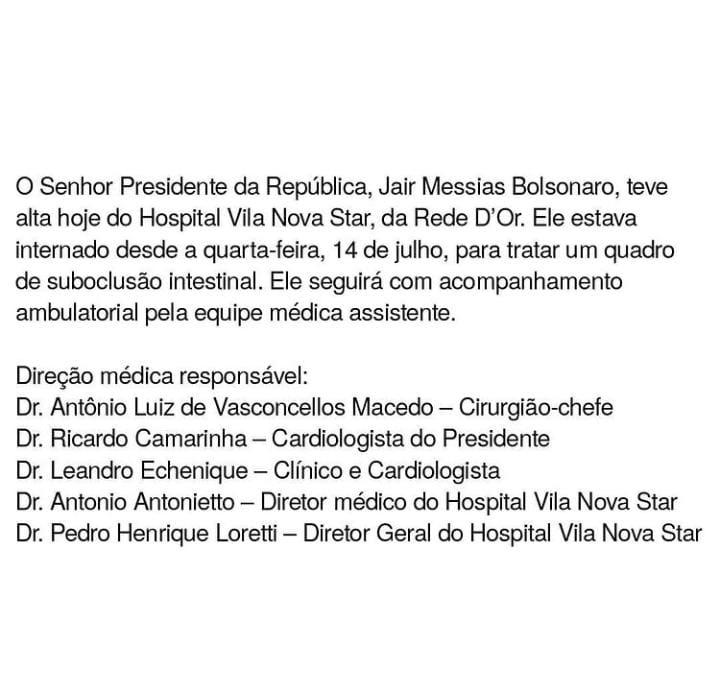 WhatsApp Image 2021 07 18 at 10.50.09 - Bolsonaro recebe alta médica após 4 dias internado - VEJA VÍDEO