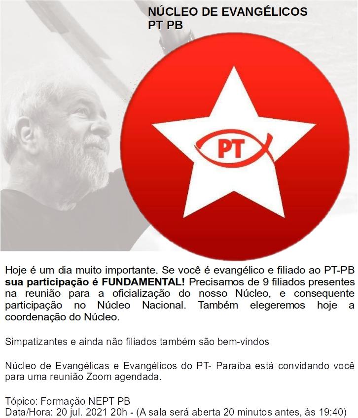 WhatsApp Image 2021 07 20 at 20.19.01 1 - De olho em 2022, PT cria 'núcleo evangélico' na Paraíba: 'queremos ampliar nossa presença'