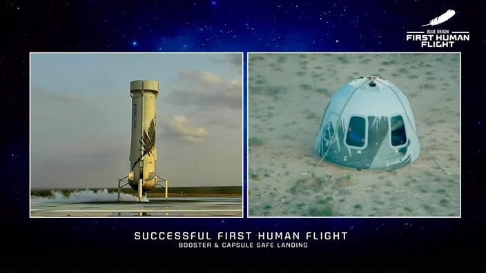 blue origin 20102342217051 - Fundador da Amazon, Jeff Bezos viajou ao espaço em voo que durou 10 minutos - VEJA VÍDEO