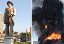 Manifestantes incendeiam estátua de Borba Gato em São Paulo; assista e entenda o motivo