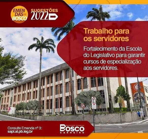 bosco - Bosco Carneiro solicita recursos para investimentos na Escola do Legislativo