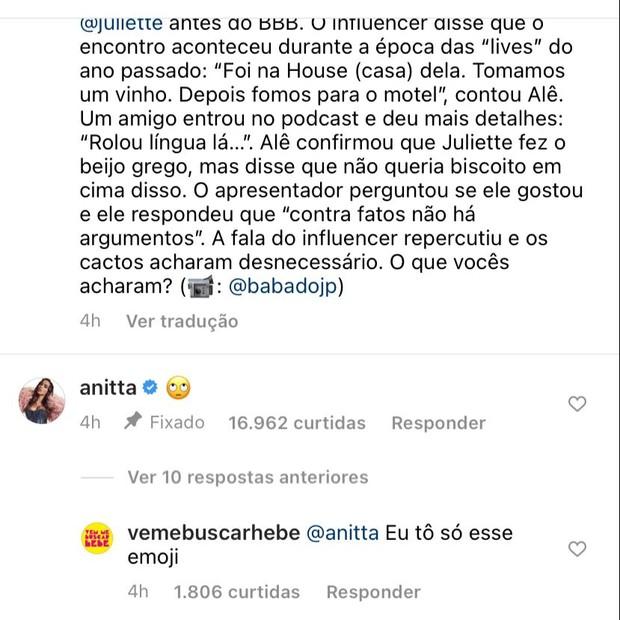 image 1Yj6sOd - Anitta reage a entrevista de influencer que relatou encontro com Juliette e deixa de segui-lo