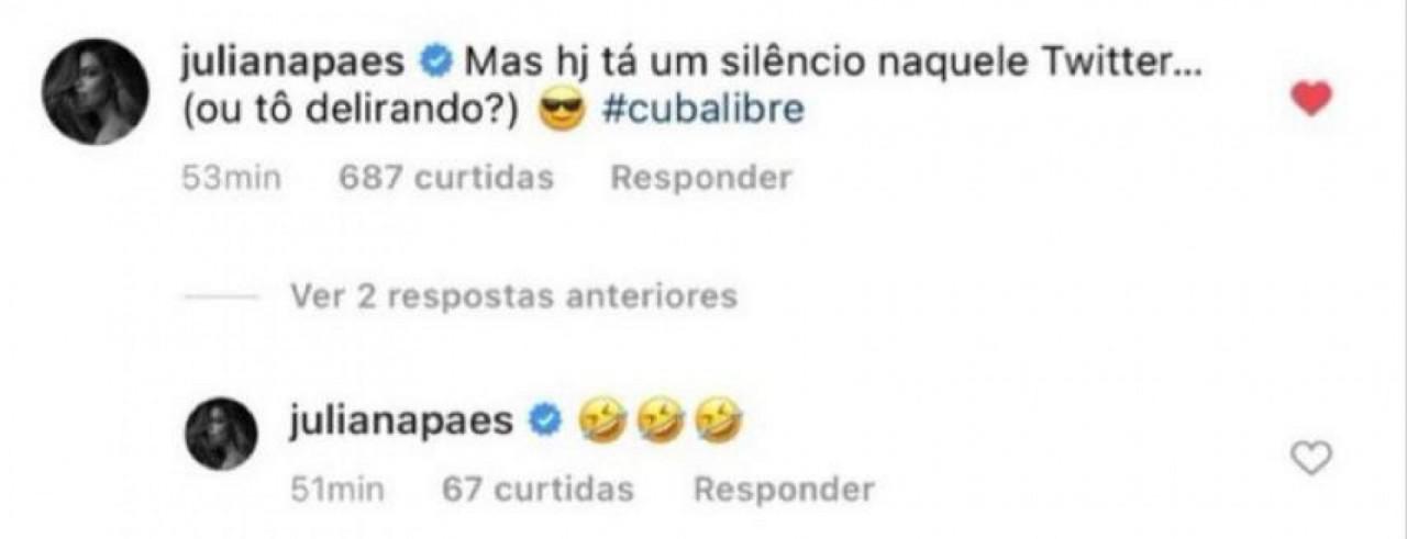 juliana paes twitter - Juliana Paes volta a ser criticada na web após comentário sobre Cuba: #Cubalibre