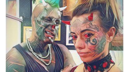mulher demonia e diabao - Mulher demônia revela que precisou reaprender a beijar após bifurcar língua- VEJA FOTOS