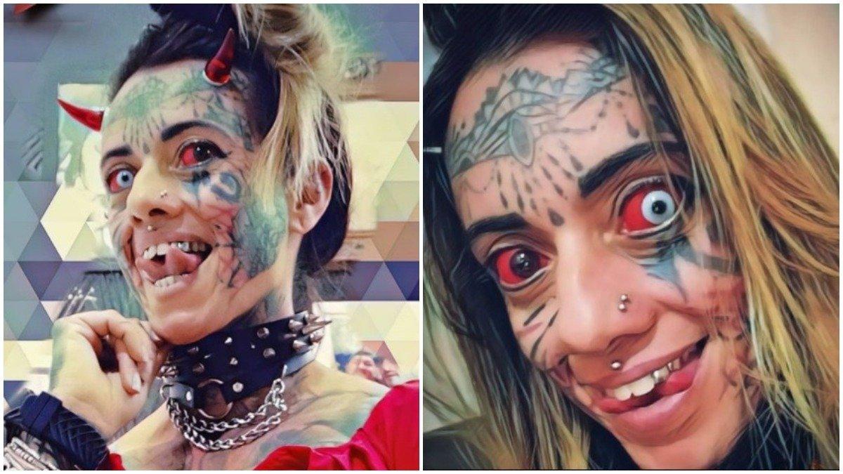 mulher demonia - Mulher demônia revela que precisou reaprender a beijar após bifurcar língua- VEJA FOTOS