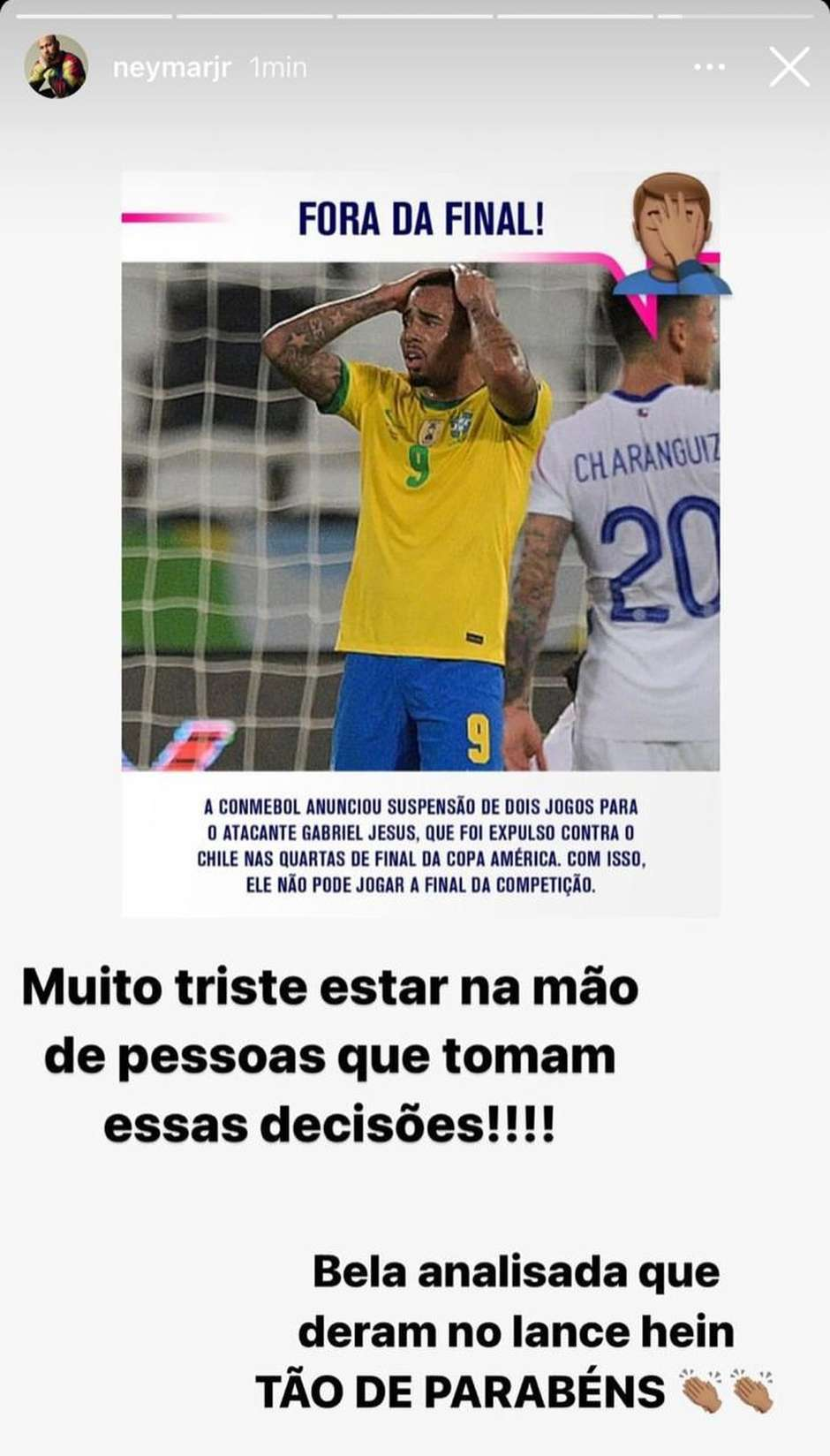 """neymar - Neymar ironiza punição dada pela Conmebol a Gabriel Jesus, que está fora da final da Copa América: """"Bela analisada que deram"""""""