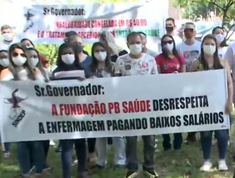 protesto 1 - Enfermeiros protestam contra salários em edital no concurso da Fundação PB Saúde: 'Abaixo do piso'