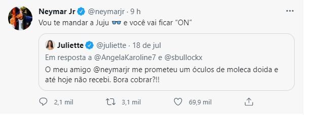 screenshot - Juliette Freire cobra presente de Neymar e jogador responde