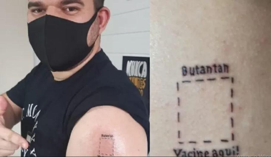 tatu - Jovem que tatuou 'Butantan, vacine aqui' recebe 1ª dose de imunizante