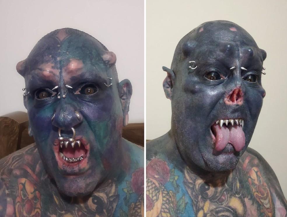 tatuado - Com 99% do corpo tatuado, recordista corta o nariz e vira o 'Caveira'
