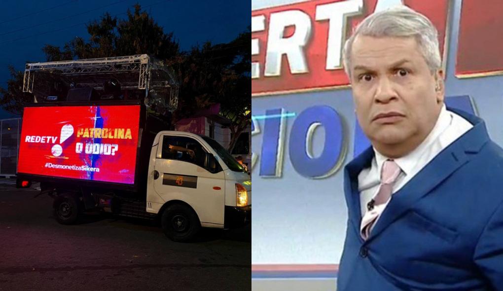 1630071438696179 - Caminhão com alto-falante vai à porta da RedeTV! protestar contra Sikêra Jr.