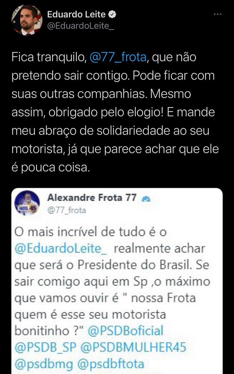 54709e6c alexandsre frota vs eduardo leite twitter - Alexandre Frota troca farpas com Eduardo Leite e faz post em tom homofóbico