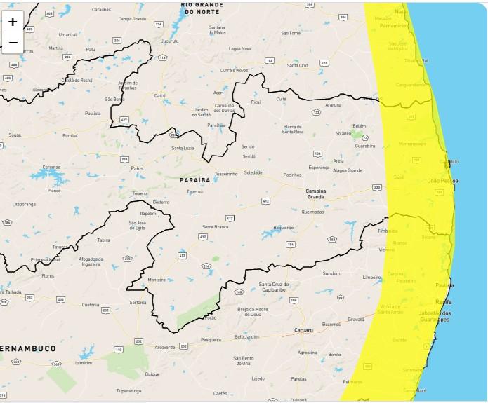ALERTA - Inmet prorroga alerta amarelo de fortes chuvas em 36 municípios da Paraíba - CONFIRA A LISTA