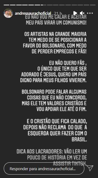 """Andressa Urach - Andressa Urach volta a defender Bolsonaro por valores cristãos: """"Vou apoiar ele até o fim"""""""