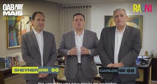 Captura de tela 2021 08 18 155336 - O MOMENTO É DE UNIÃO: Raoni Vita, Sheyner Asfóra e Carlos Fábio anunciam chapa da oposição que visa resgatar o papel da OAB-PB - VEJA VÍDEO