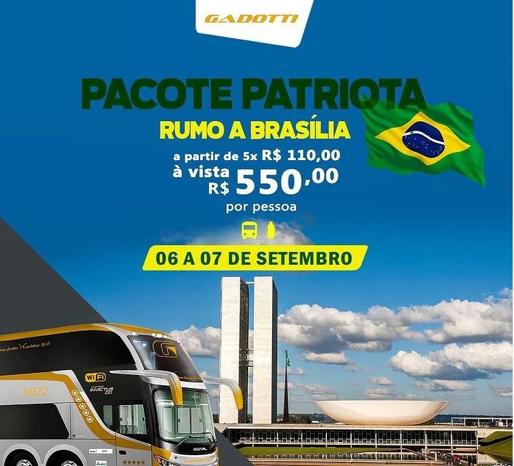 """Capturar 64 - """"Pacote Patriota"""": agência de turismo oferece viagem para comemorar 7 de Setembro e vira piada; 'o ônibus é o Gadobus?'"""