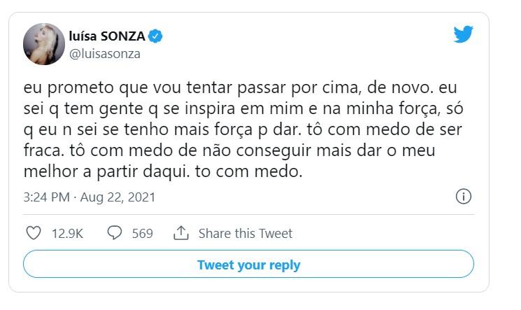 Capturar 87 - 'Medo de não conseguir mais': Luísa Sonza faz desabafo nas redes sociais