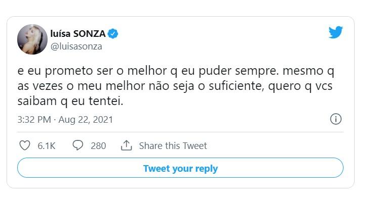 Capturar 88 - 'Medo de não conseguir mais': Luísa Sonza faz desabafo nas redes sociais