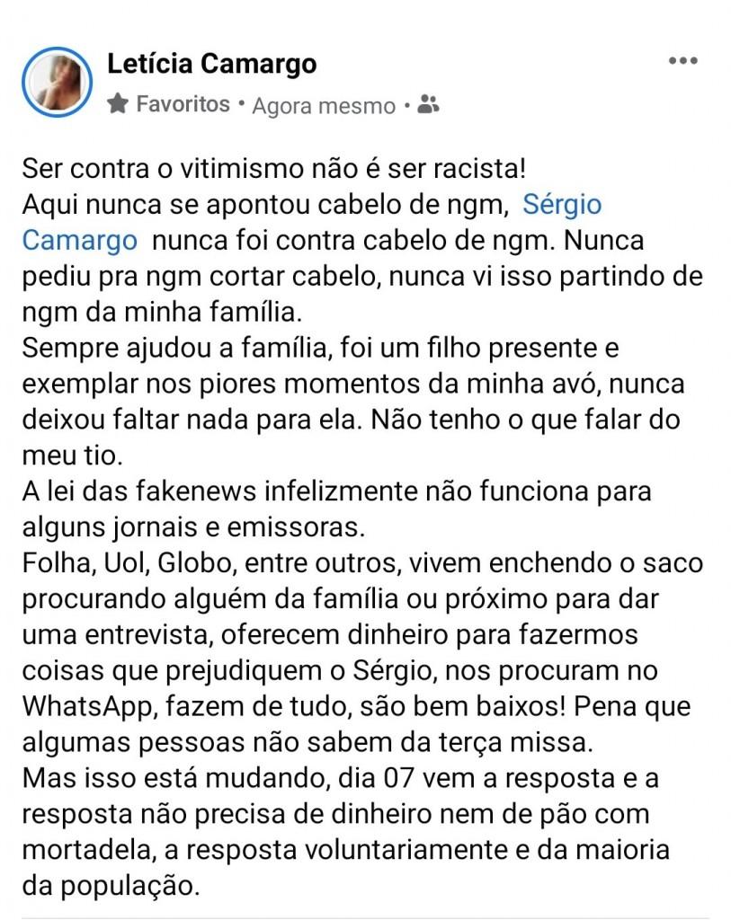 """E9 07xTXoAcz ue - Fantástico diz que Sérgio Camargo é acusado de perseguir funcionários e Presidente da Fundação Palmares rebate: """"Não são jornalistas, são marginais"""""""