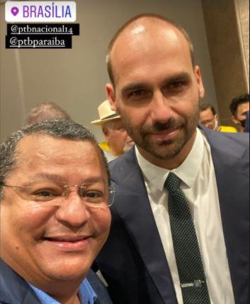NILVAN E EDUARDO - 'Força e apoio a Roberto Jefferson': Nilvan participa de evento ao lado de Eduardo Bolsonaro