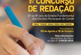 Prefeitura de Conde realiza concurso de redação em homenagem ao aniversário de 58 anos da cidade