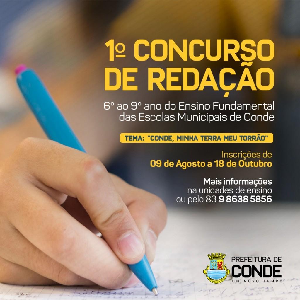 WhatsApp Image 2021 08 09 at 08.52.13 - Prefeitura de Conde realiza concurso de redação em homenagem ao aniversário de 58 anos da cidade