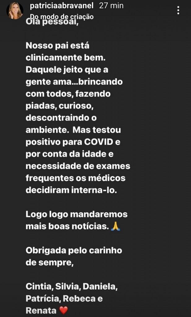 """WhatsApp Image 2021 08 13 at 18.25.59 - """"Clinicamente bem"""", dizem filhas de Silvio Santos sobre pai internado com Covid"""