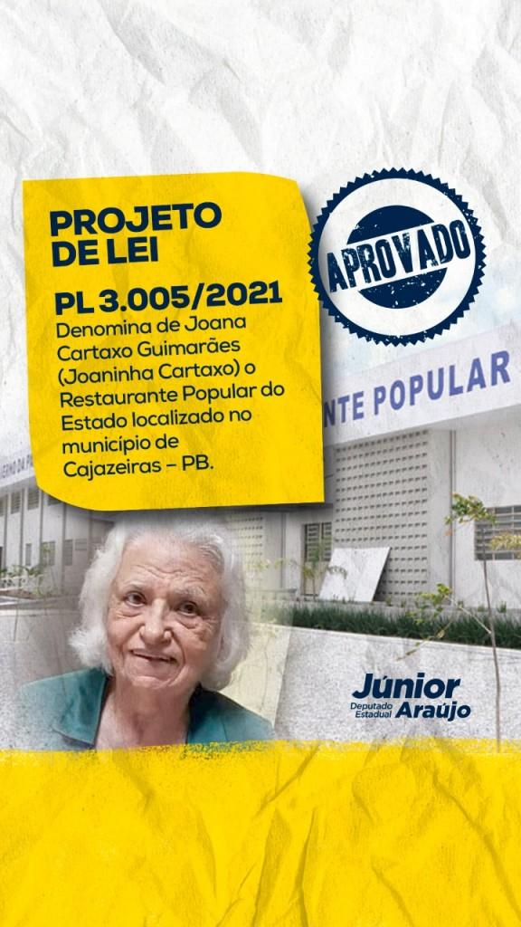 WhatsApp Image 2021 08 18 at 08.36.34 - ALPB aprova nome 'Joana Cartaxo Guimarães' para restaurante popular de Cajazeiras