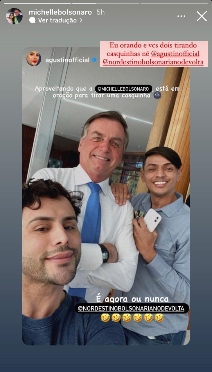 """WhatsApp Image 2021 08 23 at 16.43.27 - """"MEU HOMOFÓBICO PREDILETO"""": Intitulado como 'gay de direita', maquiador de Michelle passa o dia com Bolsonaro e tira fotos na Alvorada"""