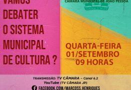 Sessão especial para debater a implantação do Sistema Municipal de Cultura acontece nesta quarta-feira com presença dos vereadores de JP