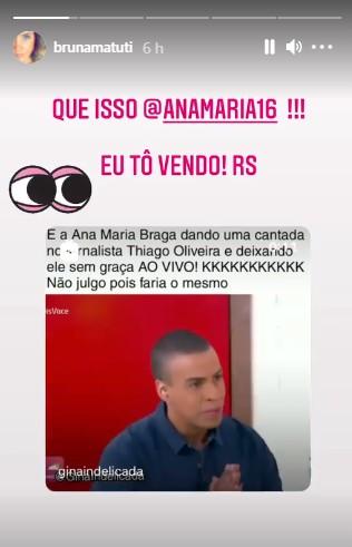 """bruna matuti - Namorada de repórter dá recado a Ana Maria Braga após xaveco ao vivo: """"Eu tô vendo"""""""