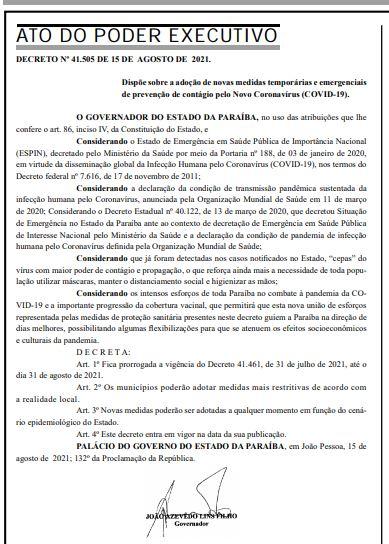 decreto - RESTRIÇÕES MANTIDAS: Paraíba prorroga regras do último decreto contra Covid-19; CONFIRA