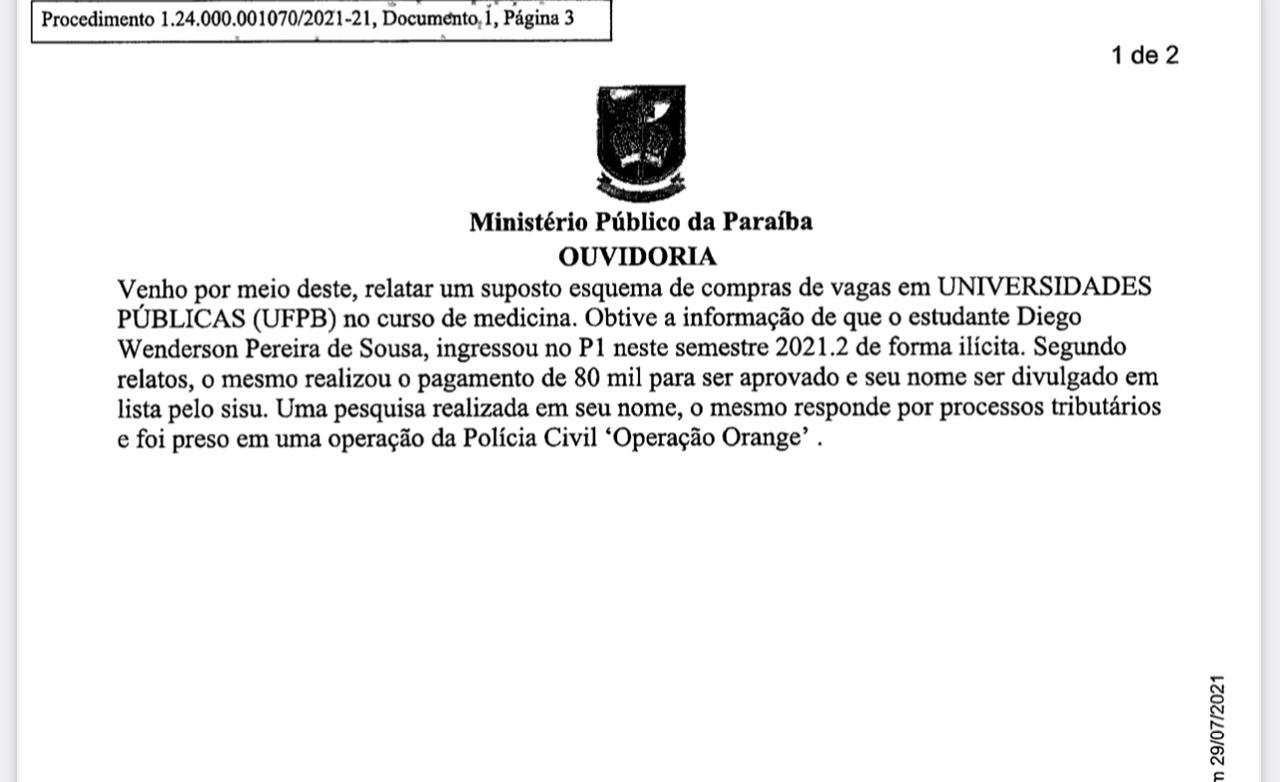 denuncia 1 - R$ 80 MIL: MPF investiga suposta compra de vaga em curso de medicina na UFPB e notifica reitor - VEJA DOCUMENTO