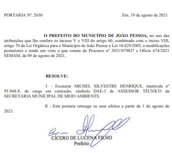 exoneracao michel - Michel Henrique pede exoneração de cargo na gestão Cícero para dar continuidade à pré-campanha para a ALPB