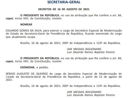 exoneracao sergio queiroz - Bolsonaro nomeia coronel da reserva para lugar do paraibano Sérgio Queiroz no governo - VEJA DOCUMENTO