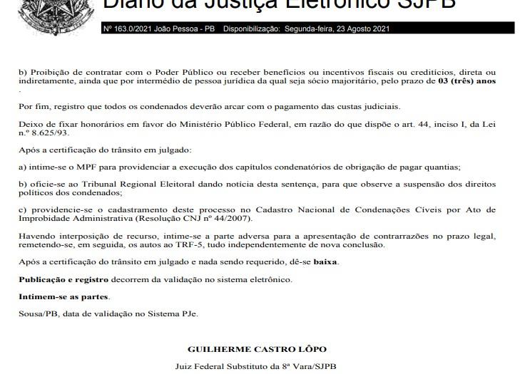 galego souza 2 1 - IMPROBIDADE ADMINISTRATIVA EM SÃO BENTO: Justiça condena deputado Galego Souza, empresas e mais nove pessoas