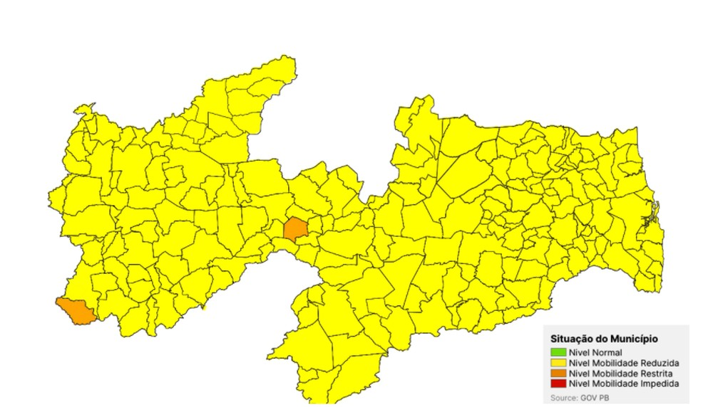mapa - PLANO NOVO NORMAL: Paraíba mantém apenas duas cidades em bandeira laranja na nova avaliação